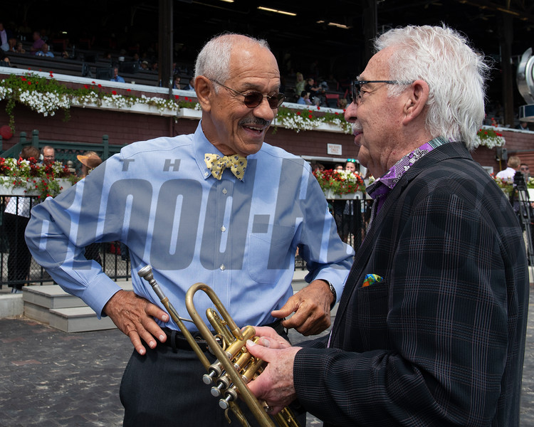 L-R, Sonny Taylor with NYRA and Doc Severinson. at Saratoga Race Course in Saratoga Springs, New York, on Aug. 24, 2019.