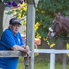 Trainer Jim Jerkens keeps an eye on his charges at the Oklahoma Training Center adjacent to the Saratoga Race Course Friday July 12, 2019 in Saratoga Springs, N.Y.  Photo by Skip Dickstein