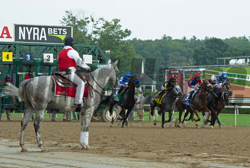 right after break from gate. Knicks Go with Joel Rosario wins the Whitney (G1). <br /> Saratoga racing scenes at Saratoga in Saratoga Springs, N.Y. on Aug. 7, 2021.