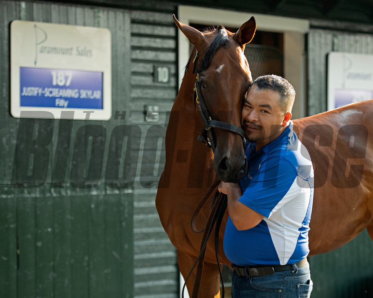 Hip 187 filly by Justify out of Screaming Skylar at Paramount Sales with Audin Gomez<br /> Saratoga training and sales scenes at Saratoga Oklahoma track and Fasig-Tipton in Saratoga Springs, N.Y. on Aug. 6, 2021.