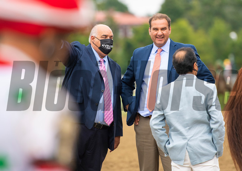 Fausto Gutierrez (C) after Letruska with Irad Ortiz Jr. win the Personal Ensign Stakes (G1) at Saratoga Race Course in Saratoga Springs, N.Y., on Aug. 28, 2021.