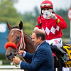 Fausto Gutierrez (C) joins Letruska with Irad Ortiz Jr. after win of the Personal Ensign Stakes (G1) at Saratoga Race Course in Saratoga Springs, N.Y., on Aug. 28, 2021.
