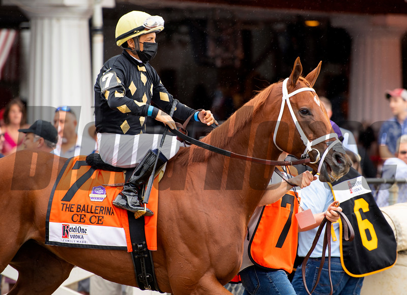 Ce Ce with Victor Espinoza before the Ketel One Ballerina Handicap (G1) at Saratoga Race Course in Saratoga Springs, N.Y., on Aug. 28, 2021.