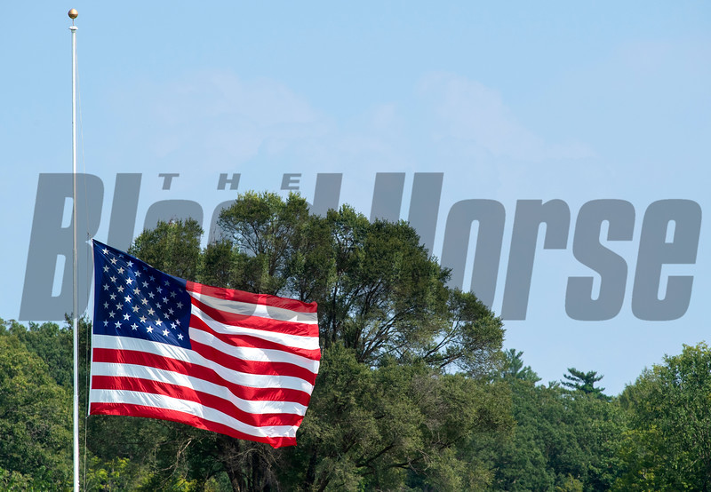 American flag at Saratoga Race Course in Saratoga Springs, N.Y., on Aug. 28, 2021.