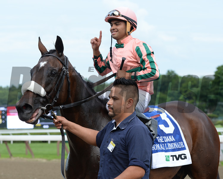 Somali Lemonade and jockey Luis Saez wins the Grade I Diana Stakes at Saratoga Race Course on July 19, 2014.<br /> Photo by: Adam Coglianese/NYRA