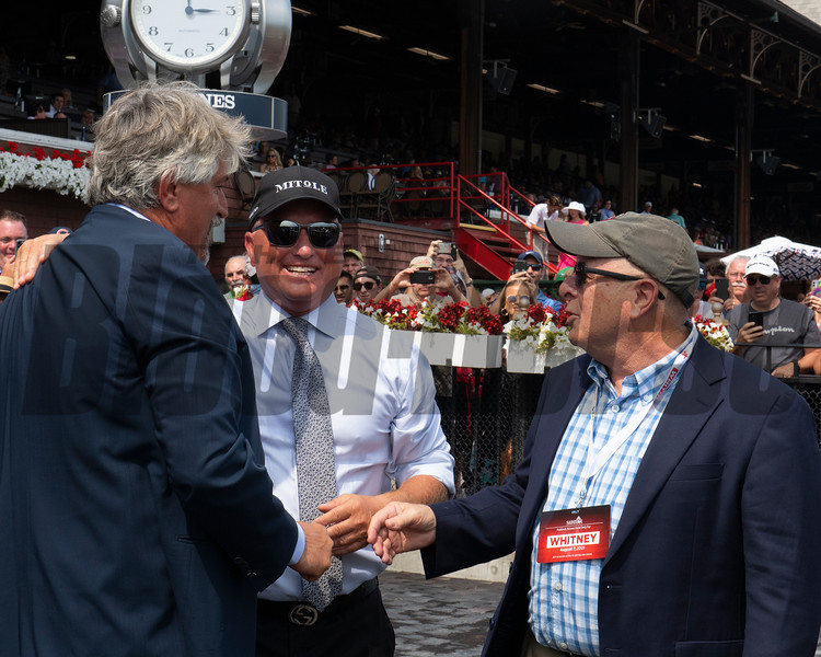(L-R): Steve Asmussen, Scott Blasi and David Fiske with Winchell after Steve Asmussen sets record. <br /> Saratoga racing scenes at Saratoga in Saratoga Springs, N.Y. on Aug. 7, 2021.