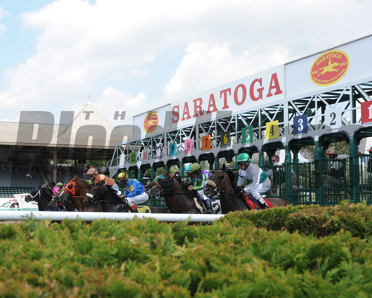 Scene from the 1st race at Saratoga on opening day July 19, 2013. <br /> Photo by: Adam Coglianese/NYRA