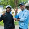 (L-R): Ricardo Santana Jr. and agent Ruben Munoz<br /> Saratoga training and sales scenes at Saratoga Oklahoma track and Fasig-Tipton in Saratoga Springs, N.Y. on Aug. 6, 2021.