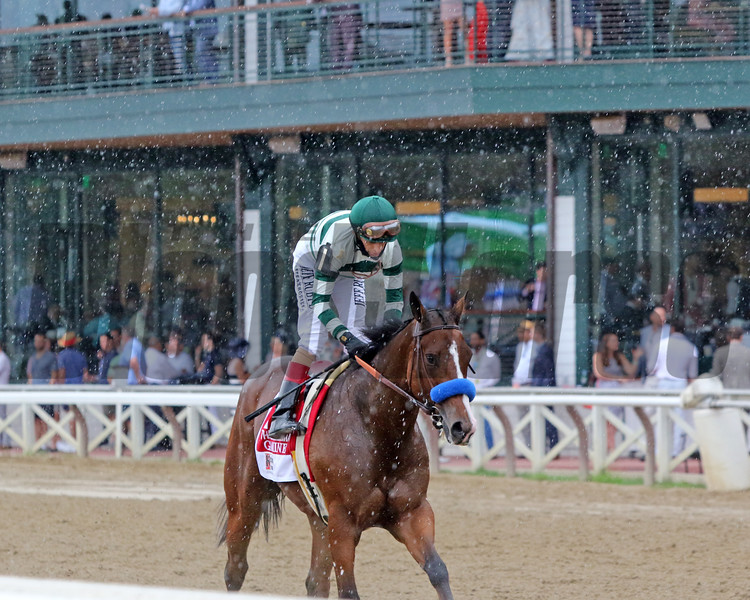 Gamine with John Velazquez win the 43rd Running of The Ballerina (GI) at Saratoga on August 28, 2021. Photo By: Chad B. Harmon