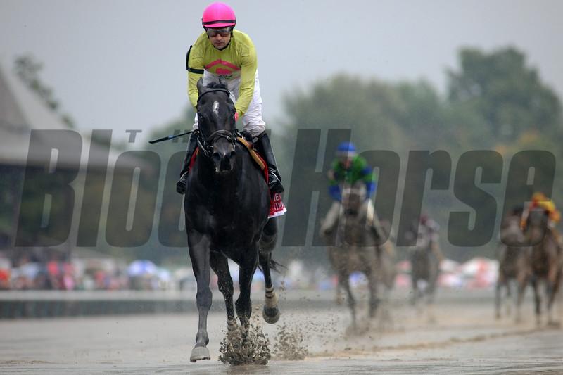 Condo Commando wins the Spinaway Stakes at Saratoga August 31, 2014.<br /> Coglianese Photos