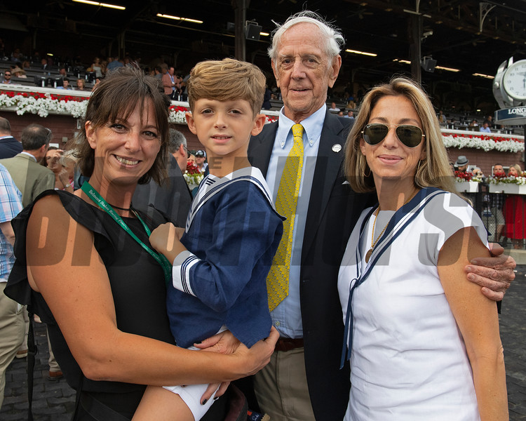 (L-R): Whitney family representatives in winner circle are Penelope Miller, Royal Douglass, Leverett Miller, Whitney Douglass. Knicks Go with Joel Rosario wins the Whitney (G1). <br /> Saratoga racing scenes at Saratoga in Saratoga Springs, N.Y. on Aug. 7, 2021.