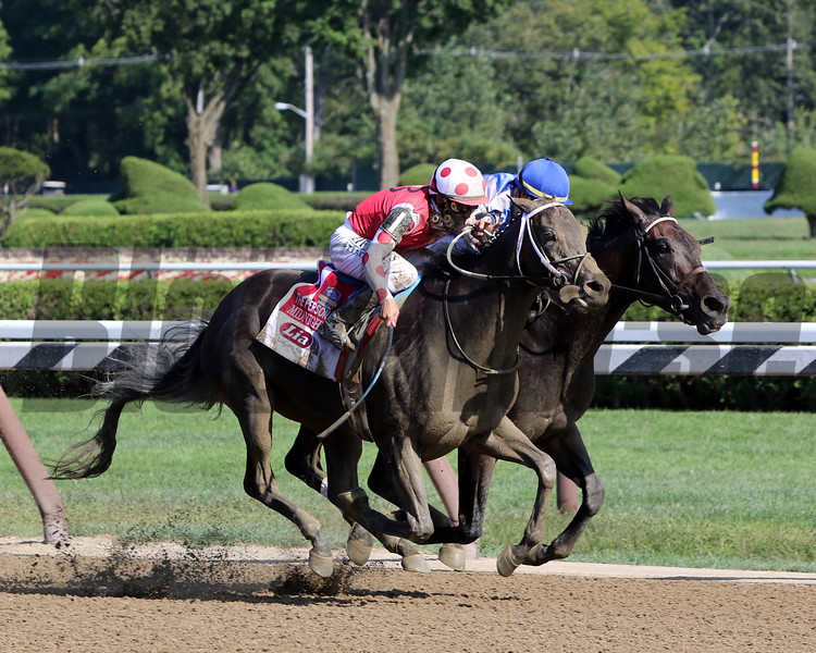 Midnight Bisou with Mike Smith win the 72nd Running of the Personal Ensign (GI) at Saratoga on August 24, 2019 over Elate with Jose Ortiz. Photo By: Chad B. Harmon
