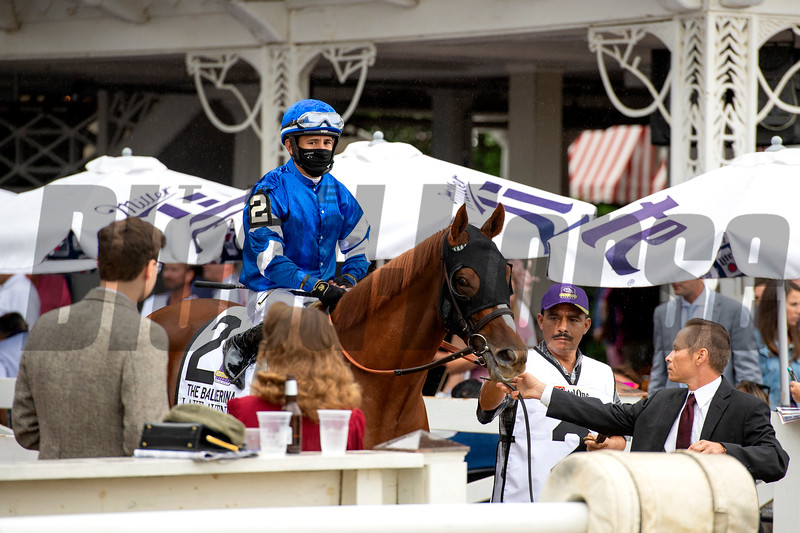 Lake Avenue with Junior Alvarado before the Ketel One Ballerina Handicap (G1) at Saratoga Race Course in Saratoga Springs, N.Y., on Aug. 28, 2021.