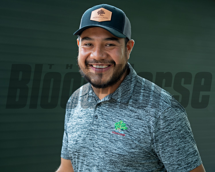 Juan Aguilar, yearling manager with Indian Creek<br /> Saratoga training and sales scenes at Saratoga Oklahoma track and Fasig-Tipton in Saratoga Springs, N.Y. on Aug. 6, 2021.