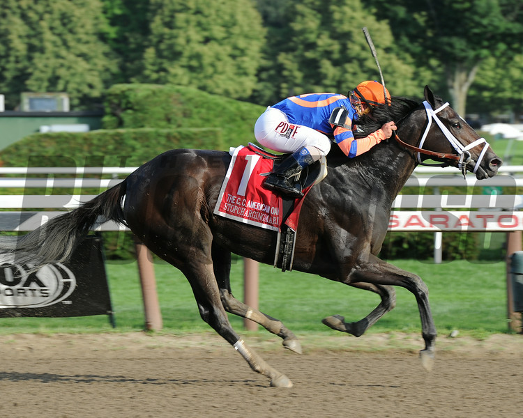Stopchargingmaria wins the CCA Oaks 7/20/2014.<br /> Coglianese Photos