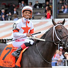 Yaupon with Ricardo Santana Jr. after winning the 42nd Running of The Forego (GI) at Saratoga on August 28, 2021. Photo By: Chad B. Harmon