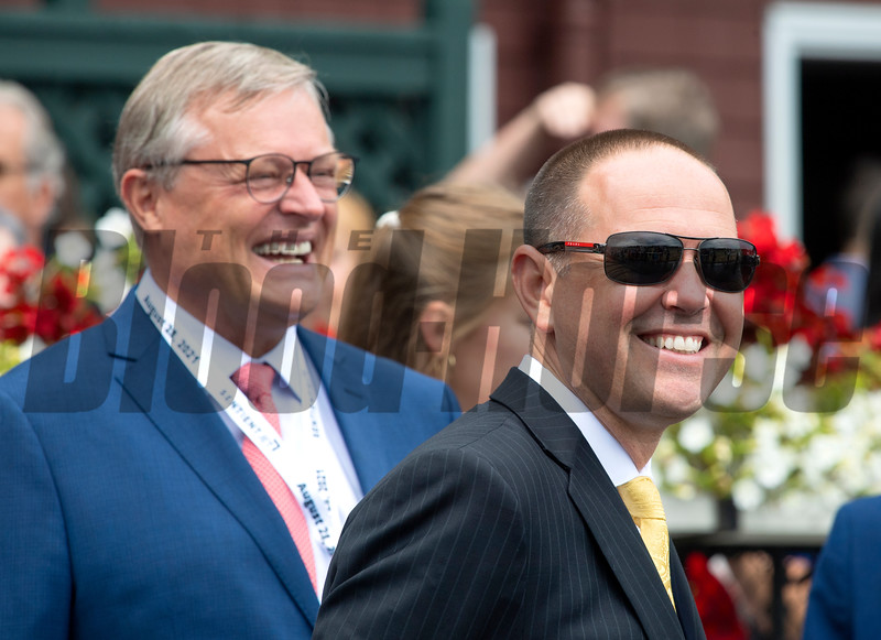 (L-R): Garrett O'Rourke of Juddmonte and Chad C. Brown after Viadera with Joel Rosario win the Ballston Spa (G2T) at Saratoga Race Course in Saratoga Springs, N.Y., on Aug. 28, 2021.