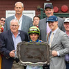 Winning connections and Mark Toothaker in the winner's circle after Jackie's Warrior with Joel Rosario win the H. Allen Jerkens Memorial Stakes (G1) at Saratoga Race Course in Saratoga Springs, N.Y., on Aug. 28, 2021.