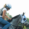 Blinkers on for Essential Quality who went to the gate leading up to the Travers. <br /> Horses in training during Travers week in Saratoga on Aug. 26, 2021.