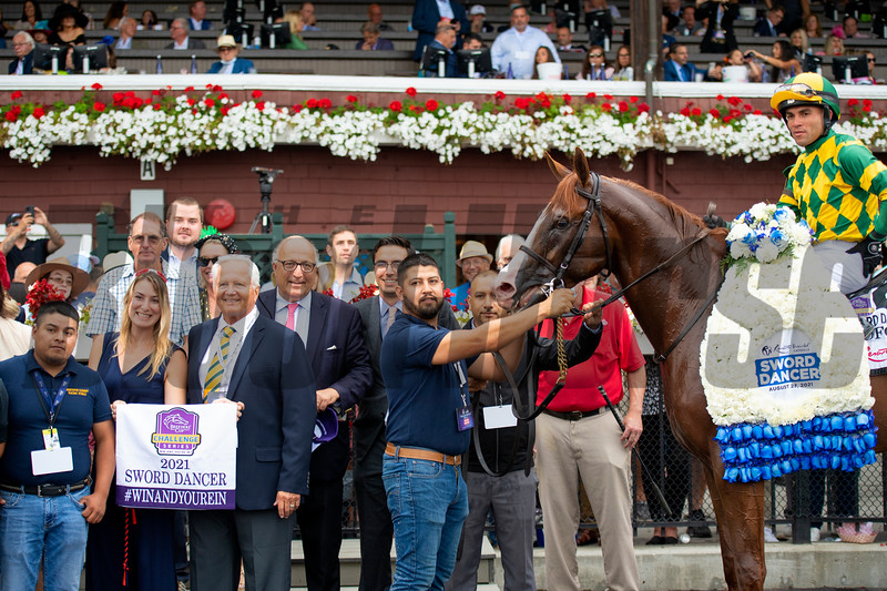 Christophe Clement and winning connections in the winner's circle after Gufo with Joel Rosario win the Resorts World Casino Sword Dancer Stakes (G1T) at Saratoga Race Course in Saratoga Springs, N.Y., on Aug. 28, 2021.
