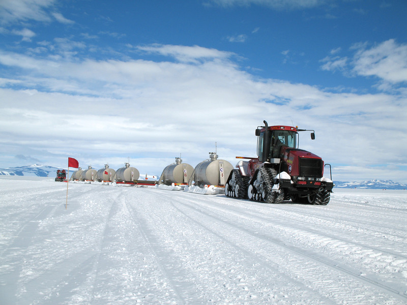 The South Pole Traverse Steiger 450 returns to McMurdo Station, Antarctica, on January 14, 2006. The eight-member team traveled 1,000 miles in just more than two months, creating a route to move cargo and fuel between the two stations. National Science Foundation