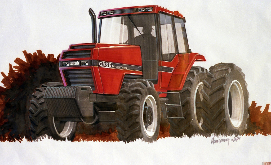 First prototype drawing of the blended Case and International tractor that would eventually become the original Magnum.