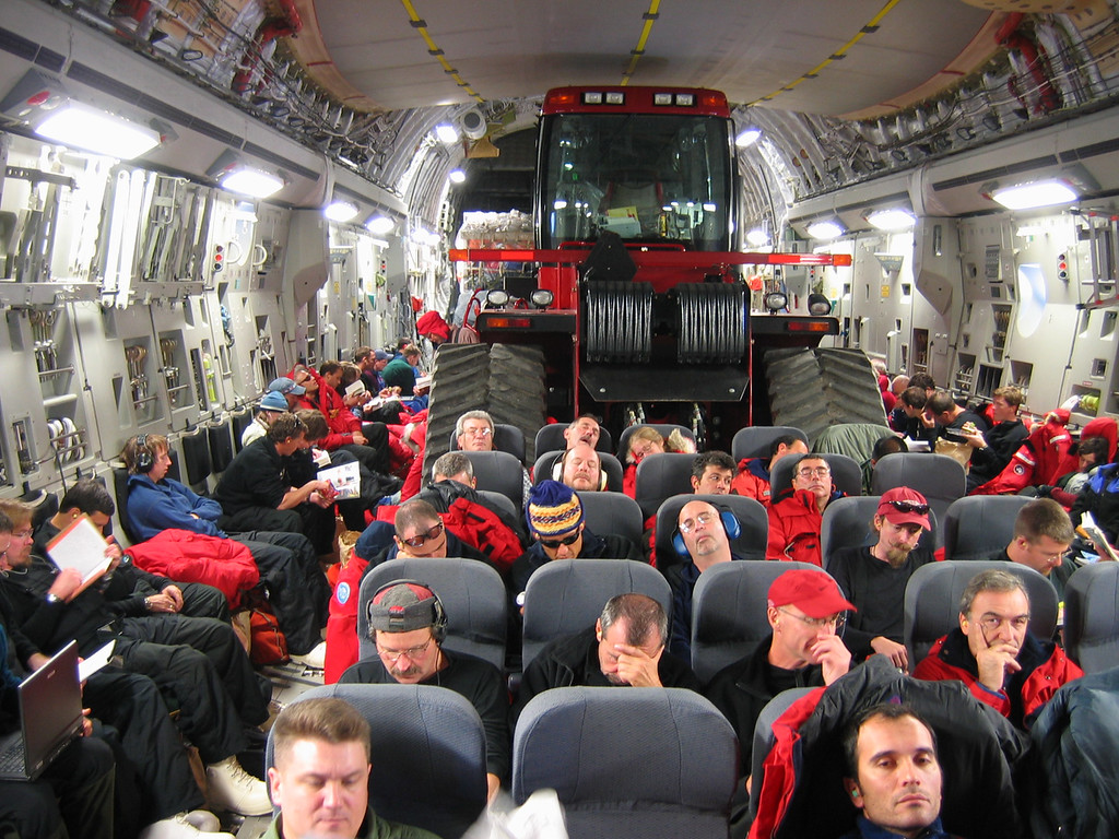 In 2005, several Steiger Quadtracs were used to open an over-ice route between two remote stations at the South Pole. On October 14, one of the machines was transported from Christchurch, New Zealand, to McMurdo Station, Antarctica, on a U.S. Air Force C-17. National Science Foundation / Peter Somers photo
