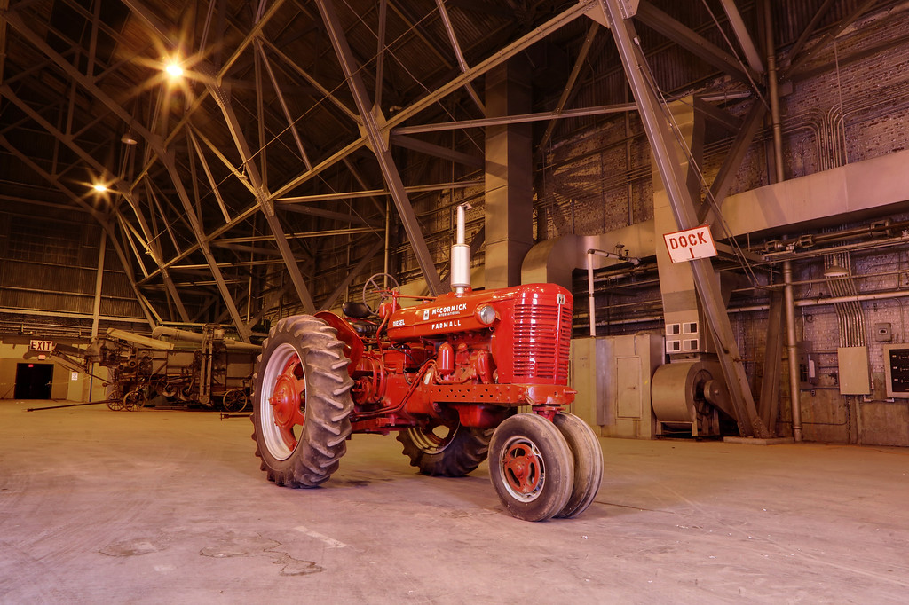 This International McCormick B-450 was photographed in a hangar at Chanute Air Force Base in Rantoul, Illinois, about 130 miles south of Chicago. Established in 1917, the base closed in 1993, but provided the site of the Half Century of Progress farm show. Darius Harms tractor collection / Lee Klancher photograph