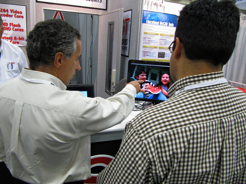 The live H.264 Encoder hardware demo using the Watermelon clip was quite effective at attracting attention and impressing knowledgeable visitors.