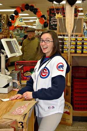 The Cub's new owner, the Ricketts family, has stationed mascots and promo people all over the western suburbs. Seen here, Brittany is happily discussing possible new lineup and fielding strategies for the 2010 season.