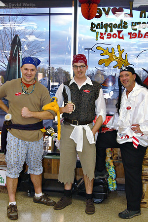 The Pirates Three. Arghhhh! Ben, Bill and Glenn. I don't know why, but pirates have traditionally been a popular costume at Trader Joe's. Is it due to our company's nautical theme?