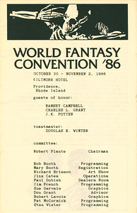 World Fantasy Convention '86 - Page 1 of Program Guide