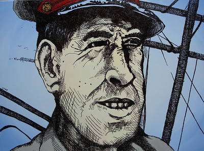 """Destroyer Captain 1953"" Acrylic and Ink on stretched canvas 18""x24"""