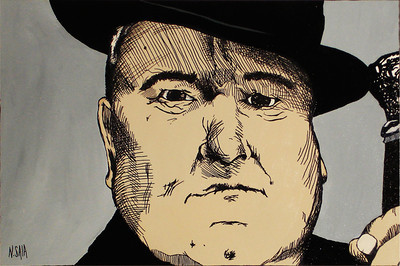 """The Great Devito"" Acrylic & Ink 24"" x 36"""