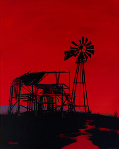 sunset barn & windmill (diptych 1)
