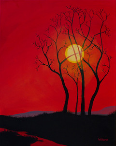 sunset trees (diptych 2)