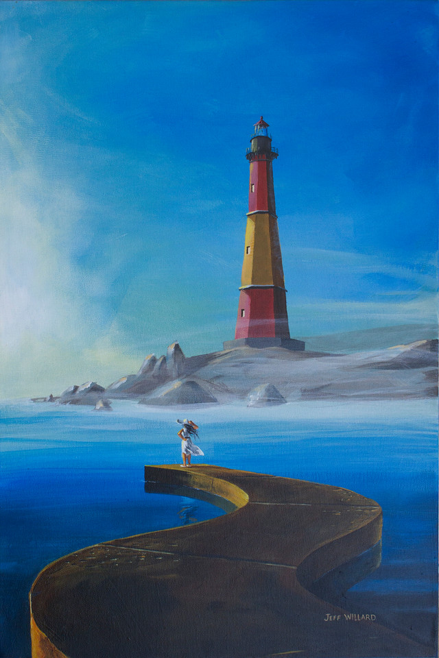The girl stands at the end of the pier, looking off into the distance as if she is waiting for someone. You may notice some common elements between this painting and a couple of my other works.