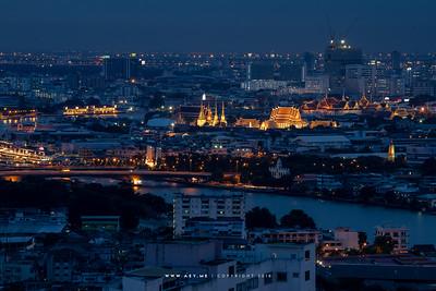 Bangkok Cityscape view from Three-Sixty Rooftop Jazz Bar, Millennium Hilton Hotel
