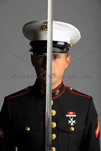 A formal look for this Marine wearing his dress uniform and sword.