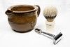 Shaving Scuttle, Badger Brush, and Megress Modified Razor