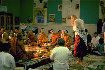 A Novice Monk Greets the Community at Khmer Buddhist Center (Lynn, MA)