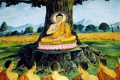 Painting of the Buddha and Followers at Watt Buddhikarana (Silver Spring, MD)