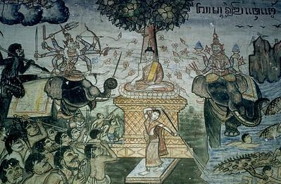 Art Depicting Siddhartha Seated Under the Bodhi Tree