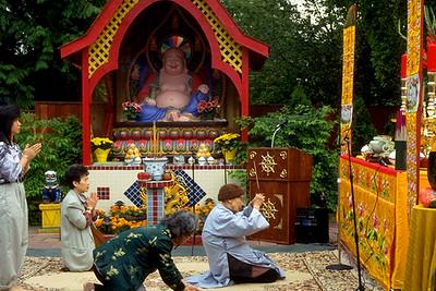 Buddhist Pray During Sunday Morning Service at Tinh Xa Quan Am (Seattle, WA)