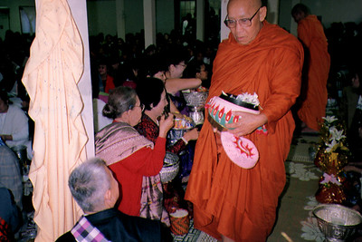 Monk Receives Offerings at the Lao Temple of Minnesota (Farmington, MN)