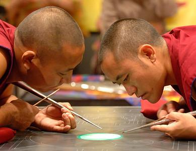 Tibetan Monks Beginning to Create a Sand Mandala (Buffalo, NY)