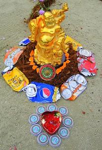 Happy Buddha Altar Made Of Recycled Materials At The San Francisco Green Festival (San Francisco, CA)