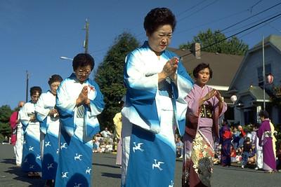 Japanese Women Perform Bon Odori Dance at Obon Festival (Seattle, WA)