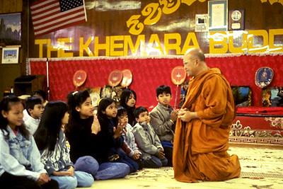 Monk Giving a Dharma Talk to Young Members of the Khemara Buddhikaram (Long Beach, CA)