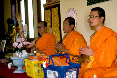 Monks Receiving Offerings at Wat Thai (North Hollywood, CA)
